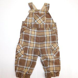 Carters Boys 9 Months Brown Plaid Overalls